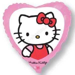 Сердце, Котенок с бантиком, Розовый, 46см