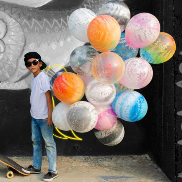 Граффити, Розовый муар, Прозрачный 30см