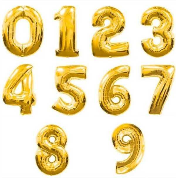 Шар Цифра, Золото, 102см , От 0 до 9, 1 шт.