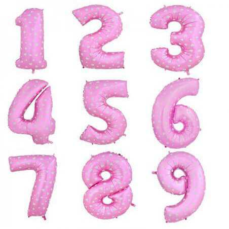 Шар Цифра, Розовый в сердечко, 102см , От 0 до 9, 1 шт.