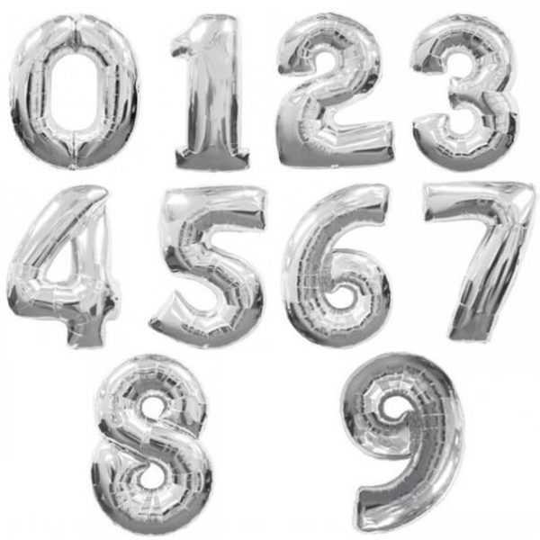 Шар Цифра Серебро 102см , От 0 до 9, 1 шт.